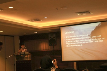 Prof Chan Eng Heng giving presentation about her marine turtle conservation